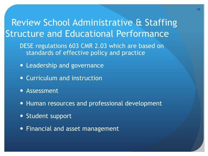 Review School Administrative & Staffing Structure and Educational Performance
