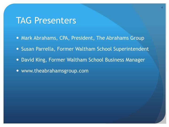 TAG Presenters