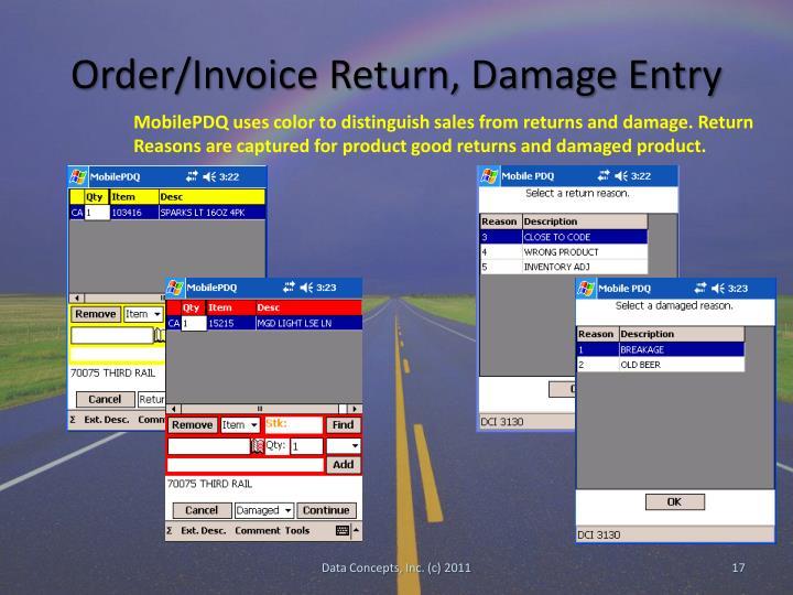 Order/Invoice Return, Damage Entry