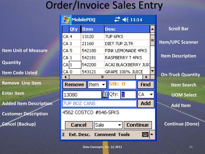 Order/Invoice Sales Entry