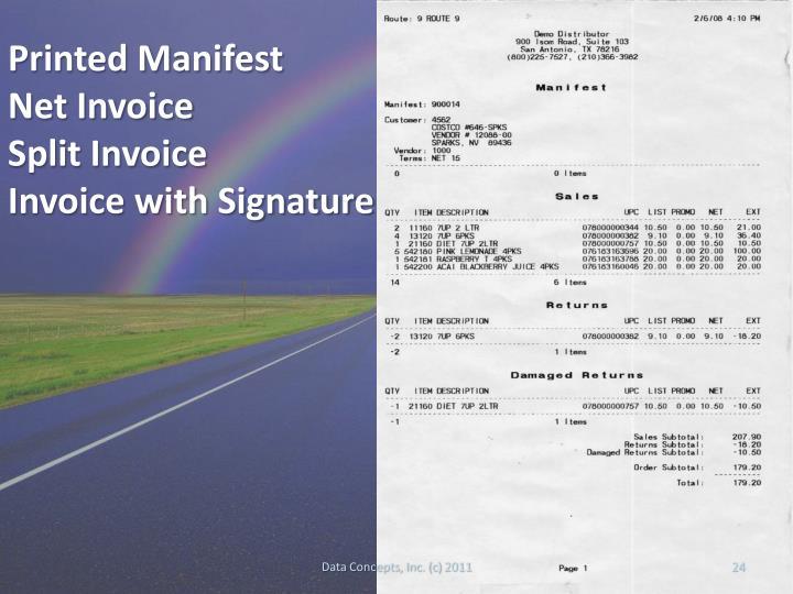 Printed Manifest