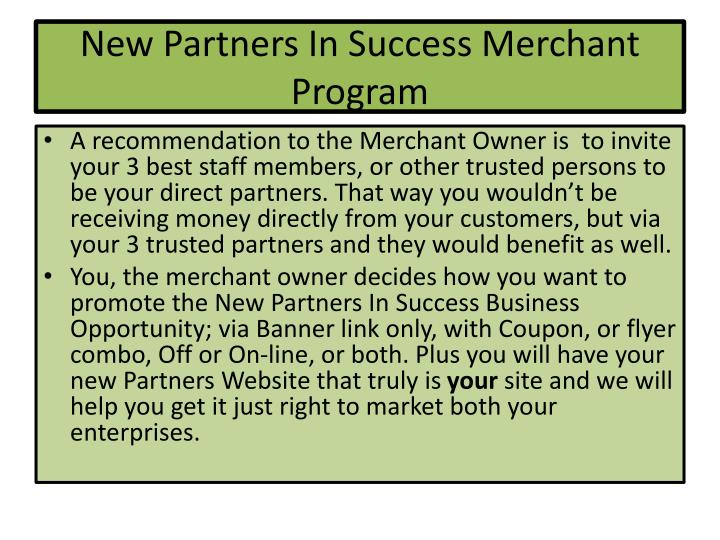 New partners in success merchant program1