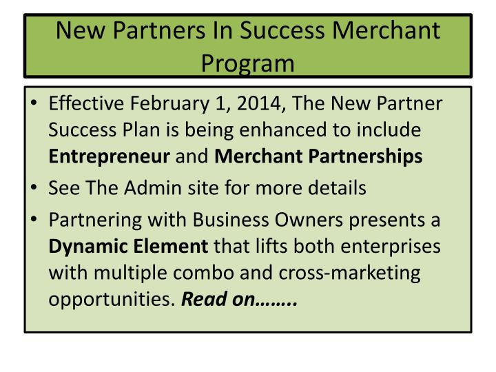 New partners in success merchant program2