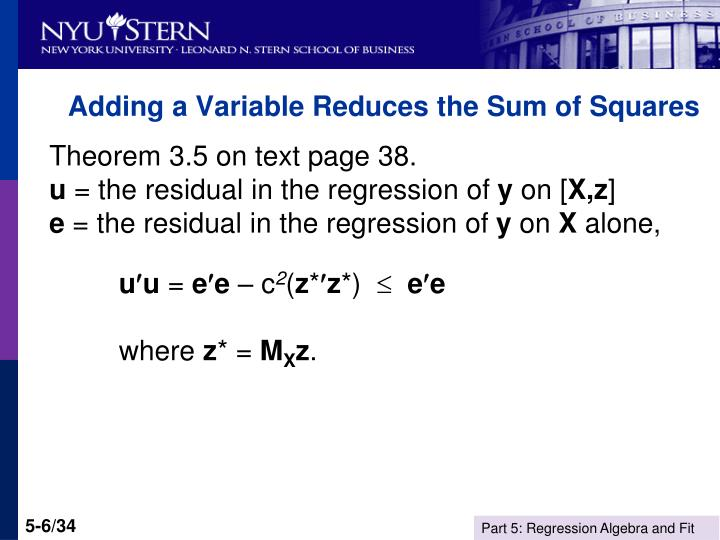 Adding a Variable Reduces the Sum of Squares
