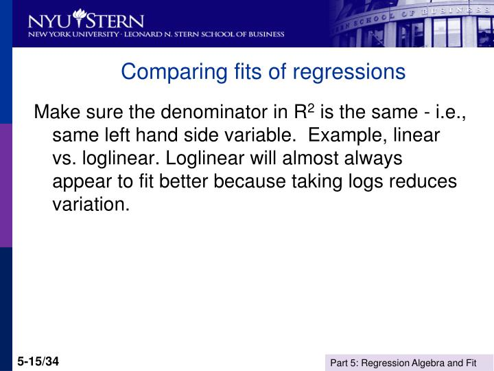 Comparing fits of regressions
