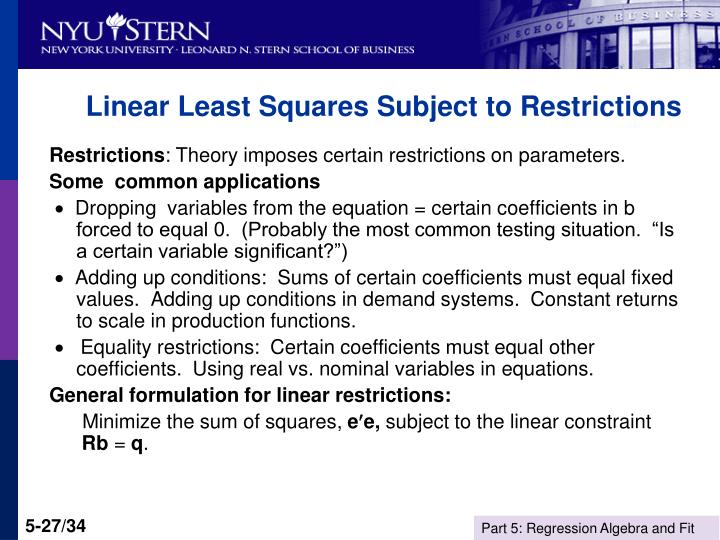Linear Least Squares Subject to Restrictions
