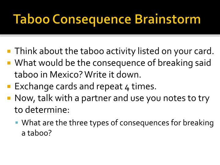 Taboo Consequence