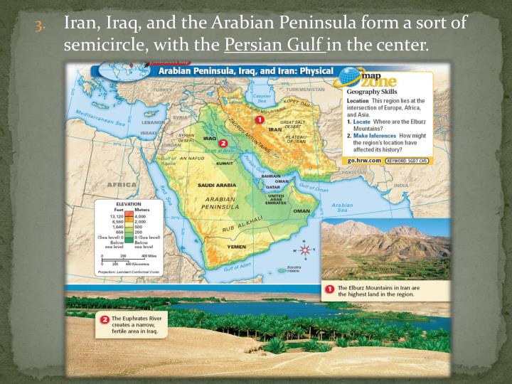 Iran, Iraq, and the Arabian Peninsula form a sort of semicircle, with the