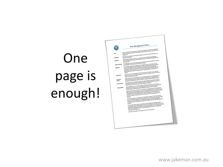 One page is enough!