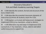 discovery education s ela and math academy learning targets