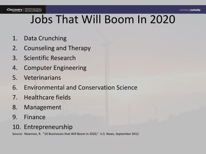 Jobs That Will Boom In 2020