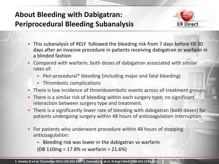 About Bleeding with Dabigatran: Periprocedural Bleeding