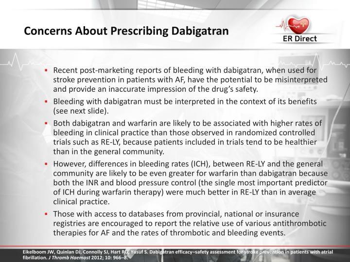 Concerns About Prescribing Dabigatran
