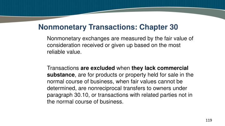 Nonmonetary Transactions: Chapter 30