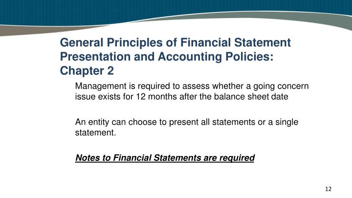General Principles of Financial Statement Presentation and Accounting Policies: Chapter 2