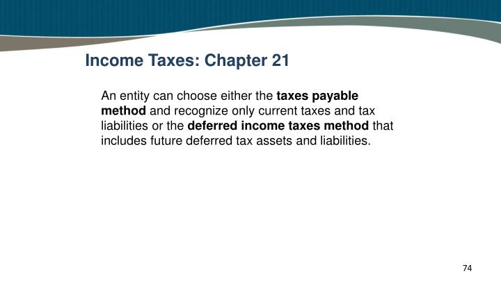 Income Taxes: Chapter 21