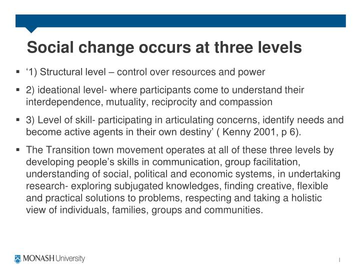 Social change occurs at three levels