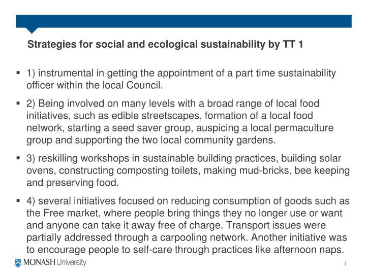 Strategies for social and ecological sustainability by TT 1