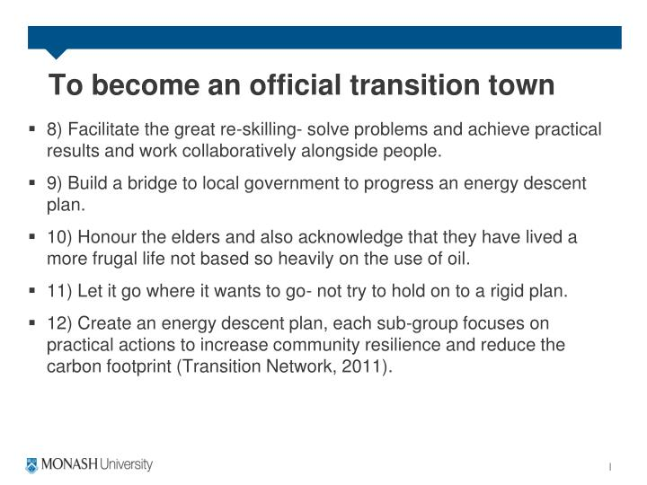 To become an official transition town