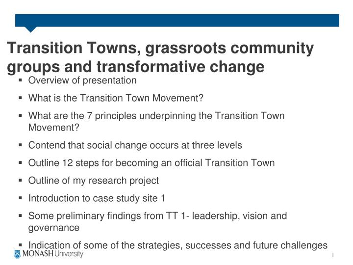 Transition towns grassroots community groups and transformative change1