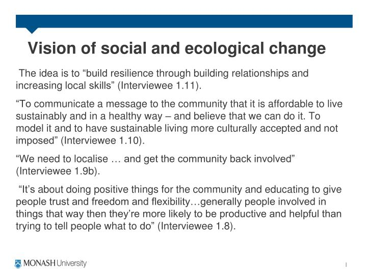 Vision of social and ecological change