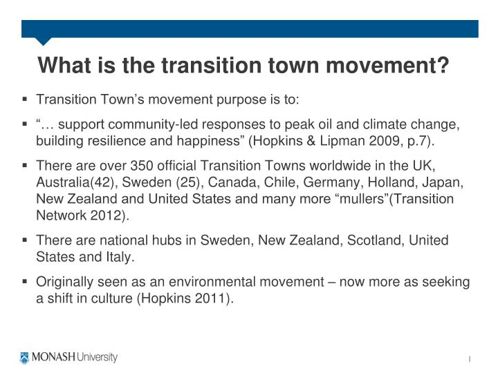 What is the transition town movement?