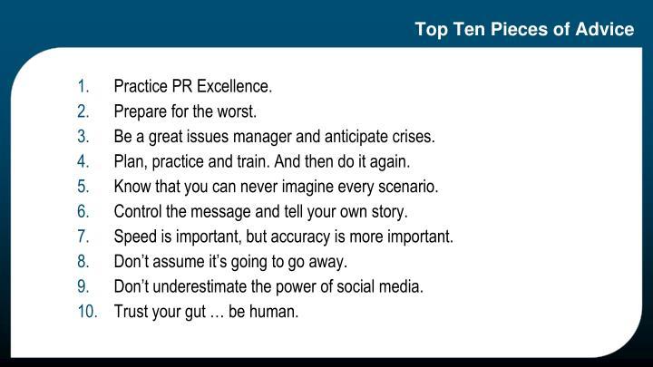 Top Ten Pieces of Advice
