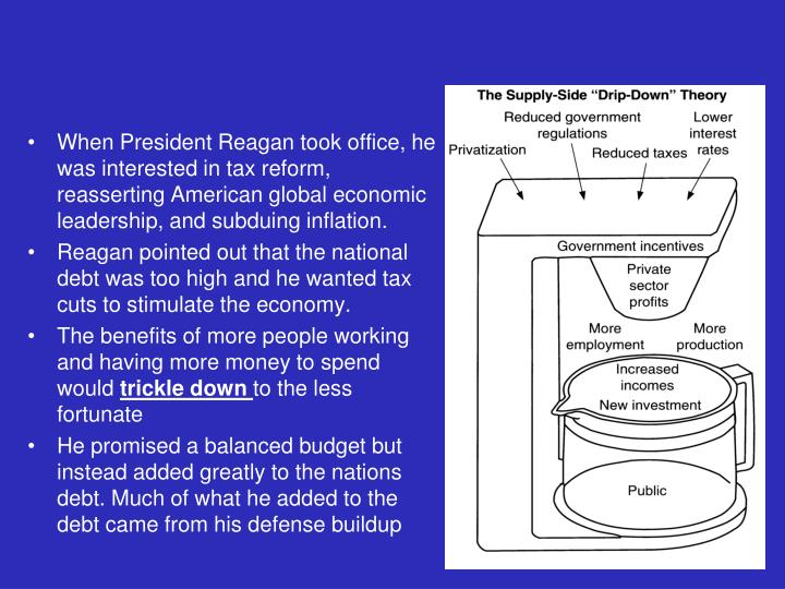 When President Reagan took office, he was interested in tax reform, reasserting American global economic leadership, and subduing inflation.