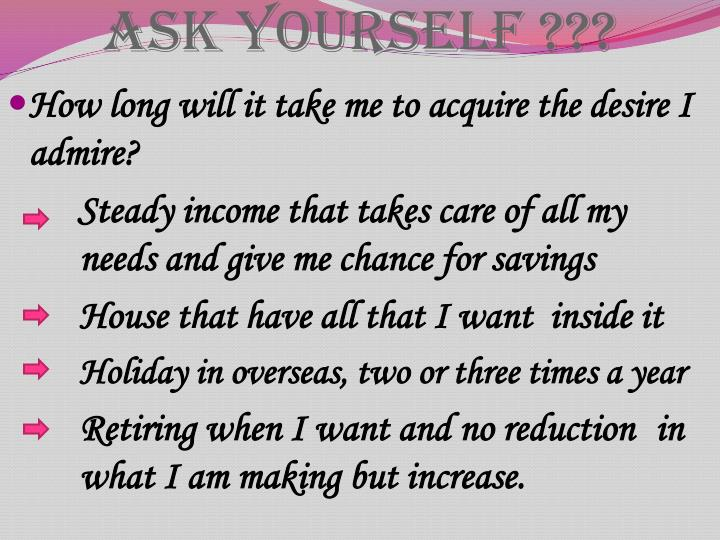 Ask Yourself ???
