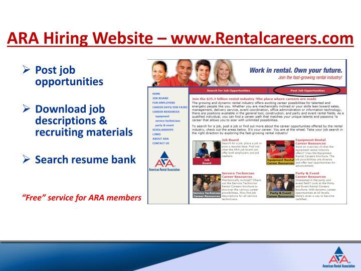 ARA Hiring Website – www.Rentalcareers.com