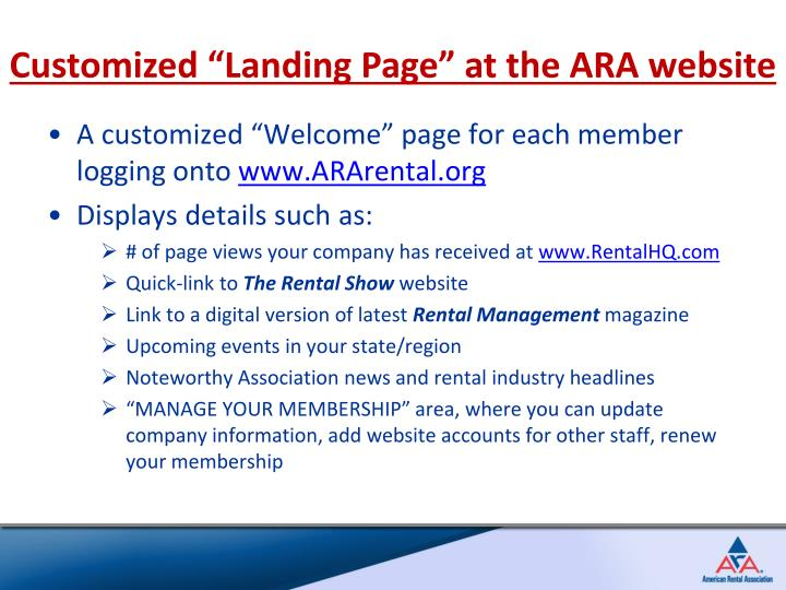 "Customized ""Landing Page"" at the ARA website"