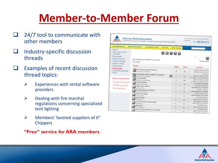 Member-to-Member Forum