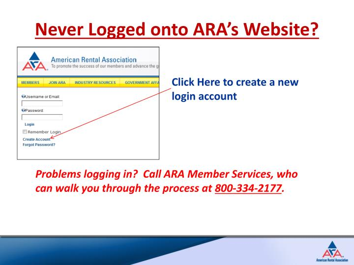 Never Logged onto ARA's Website?