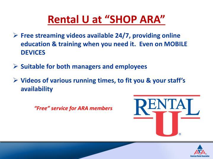 """Rental U at """"SHOP ARA"""""""