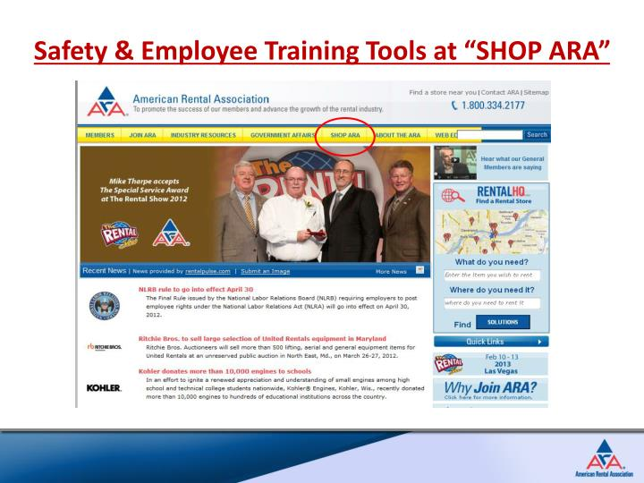 "Safety & Employee Training Tools at ""SHOP ARA"""