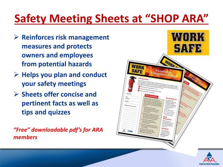 """Safety Meeting Sheets at """"SHOP ARA"""""""
