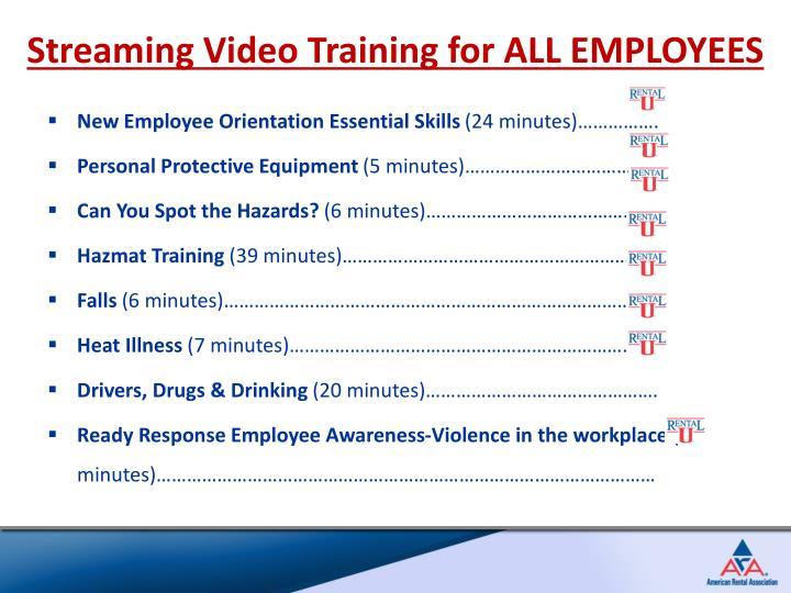 Streaming Video Training for ALL EMPLOYEES
