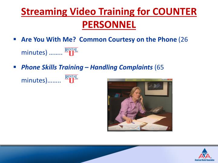 Streaming Video Training for COUNTER PERSONNEL
