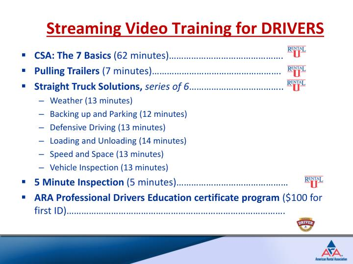 Streaming Video Training for DRIVERS