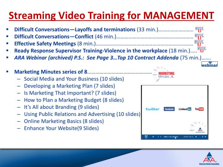 Streaming Video Training for MANAGEMENT