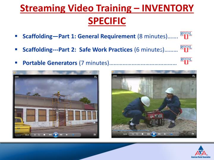 Streaming Video Training – INVENTORY SPECIFIC