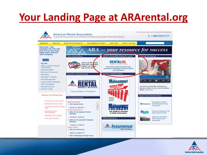 Your Landing Page at ARArental.org