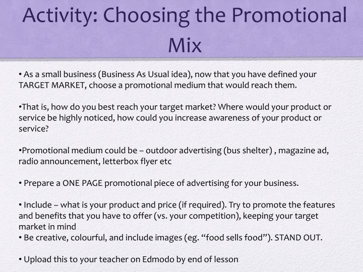 Activity: Choosing the Promotional Mix