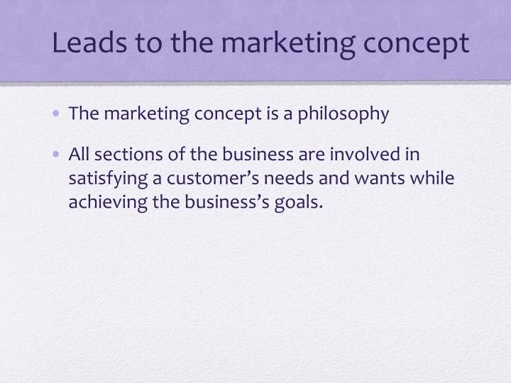 Leads to the marketing concept
