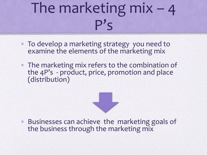 The marketing mix – 4 P's