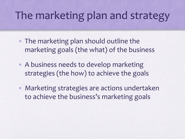 The marketing plan and strategy