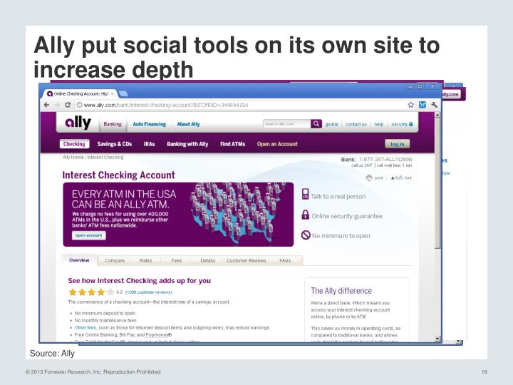 Ally put social tools on its own site to increase depth
