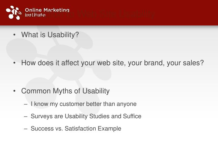 Introduction to Web Site Usability