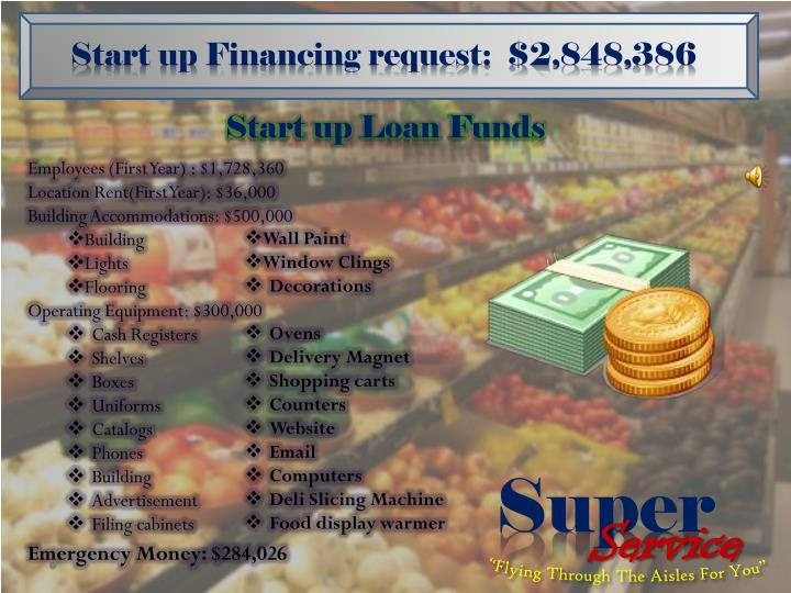 Start up Financing request:  $2,848,386