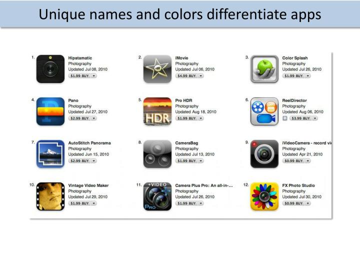 Unique names and colors differentiate apps